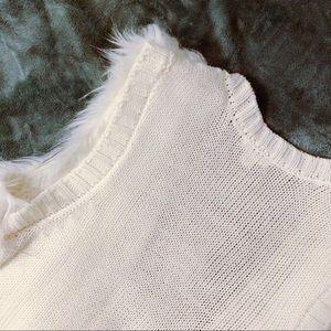 Xhilaration Jackets & Coats - White faux fur vest with tribal print